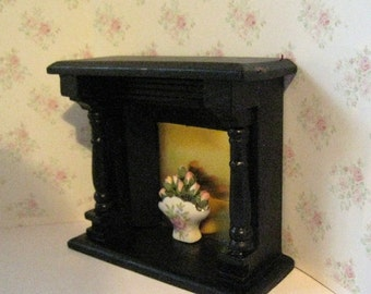 Dollhouse fireplace, black fireplace, elegant fireplace, bedroom fireplace, fireplace with flowers, a dollshouse miniature in twelfth scale