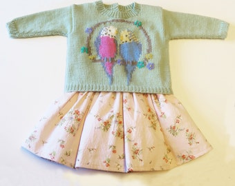 Cute Baby and Toddler Sweater with Intarsia Budgie Motif - Instant Download Pattern PDF