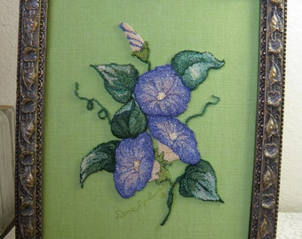 FABRIC Embroidered Framed Morning Glories, Signed , Lovely Flowered Frame