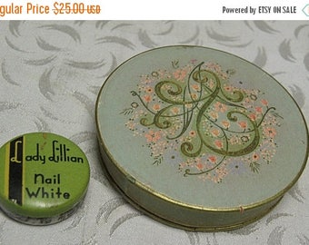 SPRING SALE vintage paper AVON Rouge Box and tiny metal Lady Lillian tin