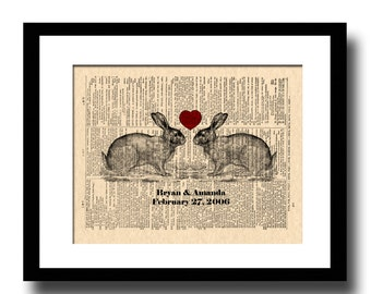 Bunny Love Art, Print, Custom Wedding & Anniversary Art, Bunny Rabbit Art Print, Vintage Dictionary Page Art, Names and Date Art