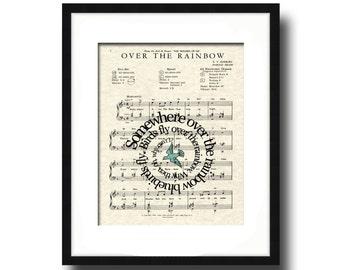 Over The Rainbow Blue Bird Spiral Song Lyric Sheet Music Art Print, Wizard Of OZ Movie Art, Art for Nursery, Childrens Art