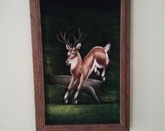 Vintage Black Velvet Painting 9 point Buck Deer in Woods Framed