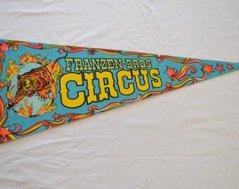 sale Vintage FRANZEN BROS CIRCUS felt pennant large