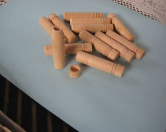 One dozen Vintage Wooden Needle Holders for Craft Projects