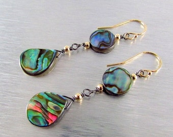 25OFF Abalone Mixed Metal Drop Earrings