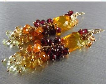 25% Off Honey Quartz With Rhodolite and Mandarin Garnet, Citrine and Lemon Quartz Wire Wrapped Earrings