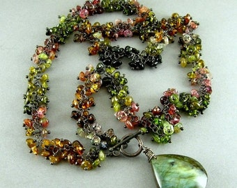 25 % OFF Watermelon Tourmaline And Labradorite Cluster Necklace