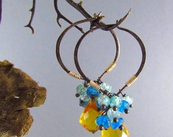25 % OFF Yellow Quartz With Shaded Apatite Hoop Earrings