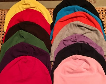 Set of three, Solid Color Cotton Spandex Chemo Caps, Chemo Hat, Sleep Caps, Comfy and stretchy caps