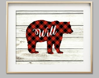 Baby boy nursery wall art woodlands nursery bear cub print buffalo plaid boy room decor rustic nursery personalized baby gift for baby