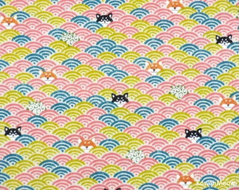 Cute Kimono Fabric -Wave Pattern Dogs on Pink - Half Yard (nu170509)