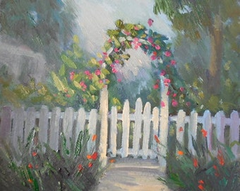 """Small Landscape, Garden Painting, Oil Painting on Canvas, 8x8x1.5"""" Original,"""