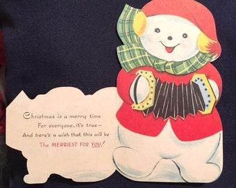 Adorable UNUSED Vintage Die Cut Christmas Greeting Card Snowman Playing Accordion~So Charming!