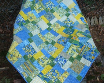 Blue and Yellow Lap Quilt Baby Quilt Throw quilt