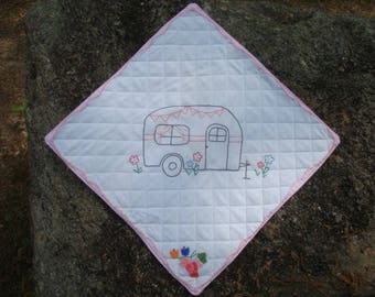 Camper Travel Trailer Embroidered Quilted Wallhanging
