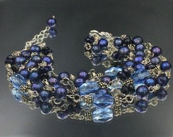 50% SALE Blue Cuff Bracelet Sterling Silver Blue Laser Pearl Crystal Cuff, Statement Cuff Bracelet Multistrand Blue Pearl Bracelet, Layering