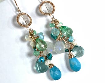 Turquoise Aqua Wire Wrap Long Dangle Earrings Colorful Gemstone Ethiopian Opal Green Topaz Moonstone Rose Gold Fill Wire Boho Chic