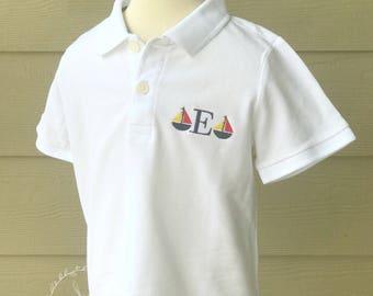 Boys Sailboat Monogram Polo
