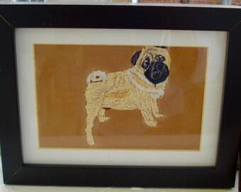 Pug Dog Portrait Young Dog Embroidered Framed
