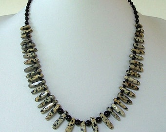 Black and Gray Dalmatian Jasper Graduated Finger Beads with Black Onyx Bib Necklace by Carol Wilson of Je t'adorn