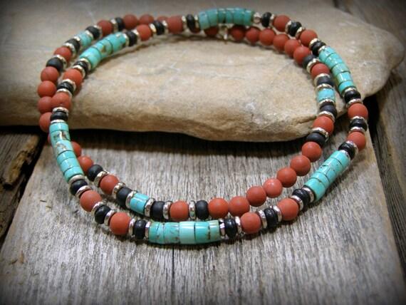 Southwestern Native American style beaded stretch bracelet set