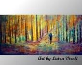 Rain Couple Painting Large Abstract Landscape Spring Summer Fall Seasons Original Artwork on Canvas