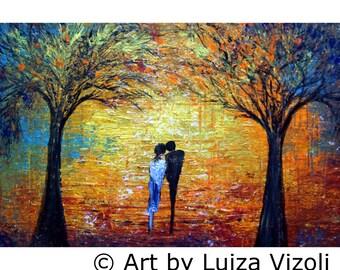 Original Modern Impressionist Painting Fall Trees Park Landscape Romance MORNING WALK by Luiza Vizoli 36x24, 52x36, 64x36, 72x36