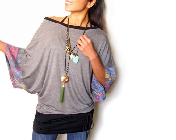 Kimono Heather With Vintage Patch Sleeves Sport Tunic