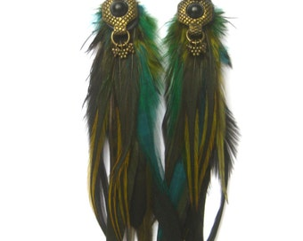 Divine Beauty feather earrings, Luxx Feather earrings, gypsy,nomad,love warrior,tribal goddess  by renegade Icon designs