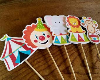 Big Top Circus Party - Set of  15 Assorted Circus Cupcake Toppers by The Birthday House