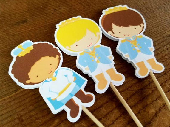Prince Party - Set of 12 Double Sided Assorted Little Prince Cupcake Toppers by The Birthday House