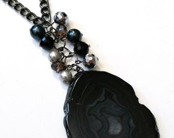 Semi Precious Black Agate Pendant and Matrix Quartz Necklace