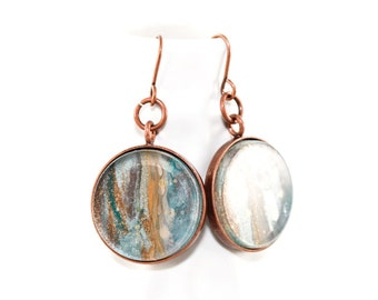 Drip Painting Dangle Earrings - Painted Acrylic in Round Copper Setting - Slate Blue, Gold, Gray, Teal - One of a Kind Gifts for Her