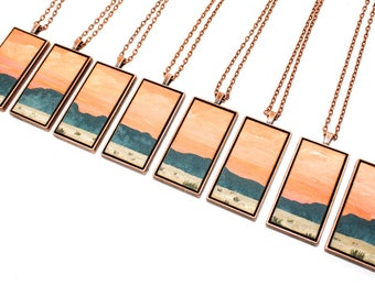 Painted Landscape Pendant - The Desert at Sunset - (Original Painting in Copper Setting)