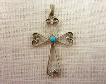 Vintage Sterling Silver and Faux Turquoise Cross Pendant