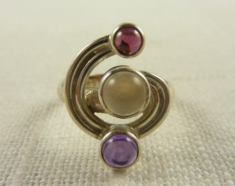 Size 7.25 Sterling Moonstone Amethyst and Garnet Ring