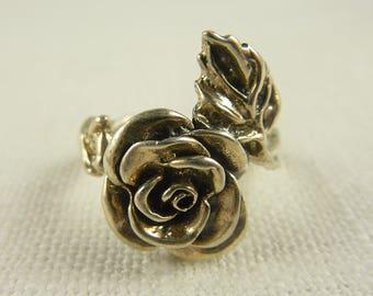 Size 8.25 Vintage Sterling Rose Ring