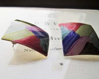 1980's Fashion Earrings * Retro Jewelry * Wearable Modern Art * Pastel Watercolor Earrings * 1980's Fashions * Retro Designs * Hand Painted