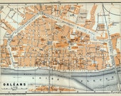 Antique Map of Orleans, France - 1902 Vintage City Map - Old City Map