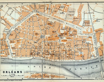 Antique Map of Orleans, France - 1905 Vintage City Map - Old City Map