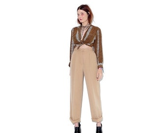 OMG HALF OFF gorgeous Camel wool trousers / luxurious silky wool pants 70s pants 1970s pants high waisted pants nude beige minimalist