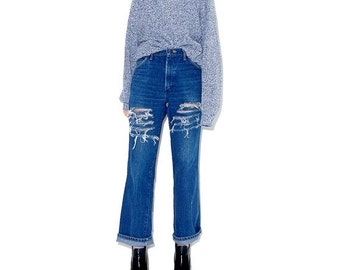 OMG HALF OFF adorable 90s Jeans / high waisted jeans mom jeans ripped jeans distressed jeans boyfriend jeans 90s clothing cropped jeans