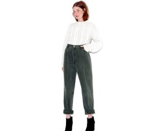 vintage 80s 90s rare OLIVE GREEN WRANGLERS xl 32 waist / amazing amazing color high waisted jeans mom jeans wrangler jeans boyfriend jeans