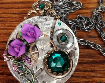 Christmas Steampunk Pocket watch Necklace