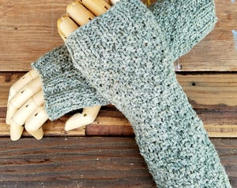 Hand Knit Sage  Alpaca and Linen Blend Fingerless Arm Hand Warmers by Wildling Art