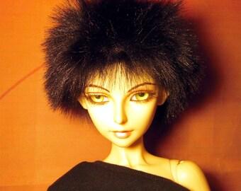 Black fake fur size 8-9 wig for Luts Delf, 1/3 bjd DOLL