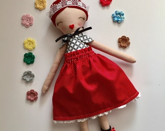 Handmade Fabric doll, red hair doll, princess doll, red skirt, creative play, gift for girls,  dolls clothing, pretend play