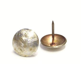 Large Brushed Silver and Gold Upholstery Tacks Nails - Set of 50