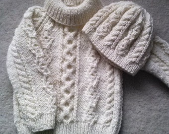 Donal child's traditional aran sweater PDF knitting pattern